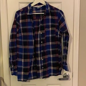 Blue plaid button down Old Navy